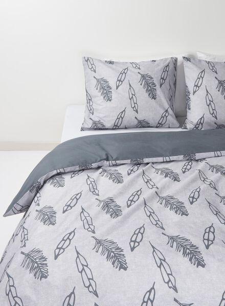 dekbedovertrek - zacht katoen - 140 x 200 cm - grijs veren grijs 140 x 200 - 5700092 - HEMA