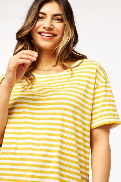dames t-shirt strepen geel M - 36314082 - HEMA