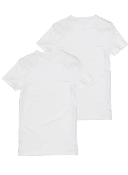 2-pak heren t-shirts regular-fit extra lang wit wit - 1000005782 - HEMA