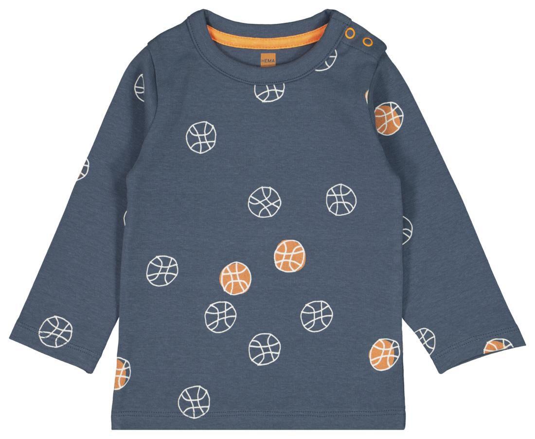 HEMA Baby T-shirt Streep Blauw (blauw)