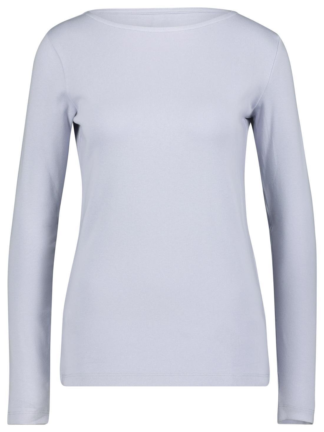 HEMA Dames T-shirt Boothals Lichtblauw (lichtblauw)