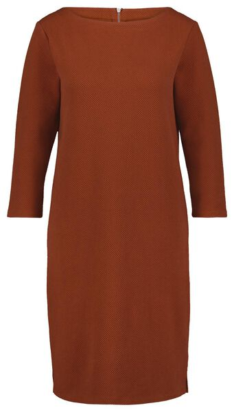 dames jurk structuur bruin bruin - 1000025277 - HEMA