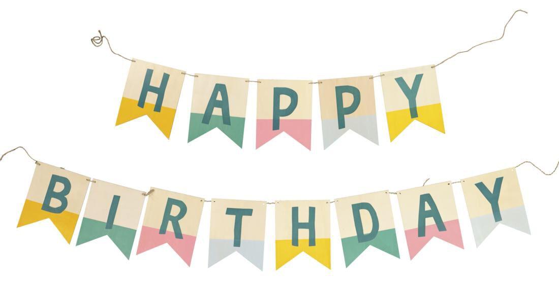 HEMA Vlaggenlijn Happy Birthday - Hout