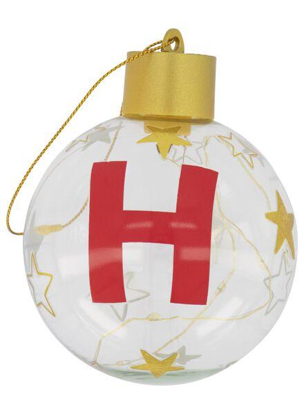 LED kerstbal glas Ø 8 cm letter H goud H - 25500047 - HEMA