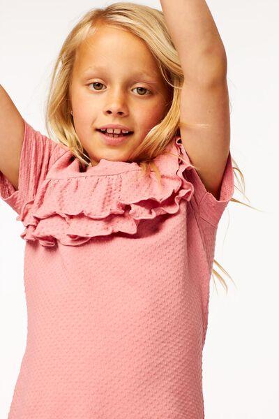 kinder t-shirt ruffle roze 122/128 - 30803535 - HEMA