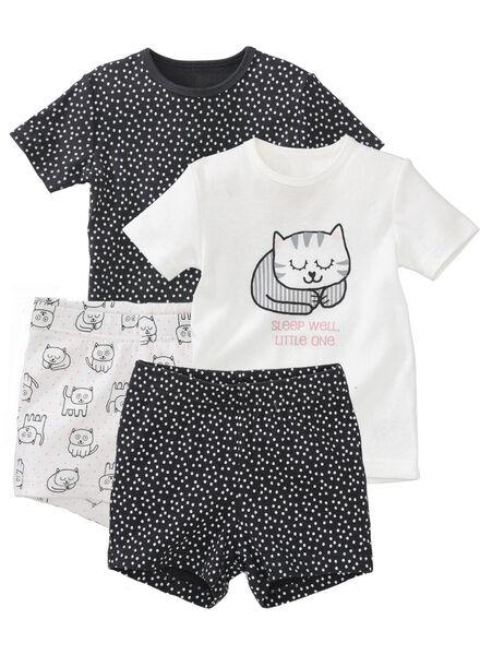 2-pak baby shortama's wit/zwart wit/zwart - 1000005333 - HEMA