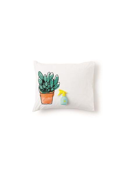 dekbedovertrek - zacht katoen - 200 x 200 cm - wit cactus - 5700134 - HEMA