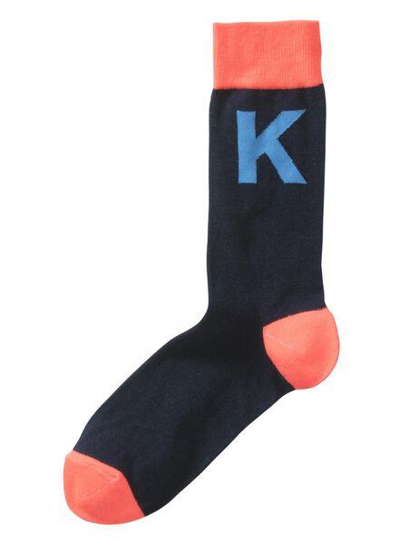 sokken maat 39-42 met letter K grijs K - 60530021 - HEMA
