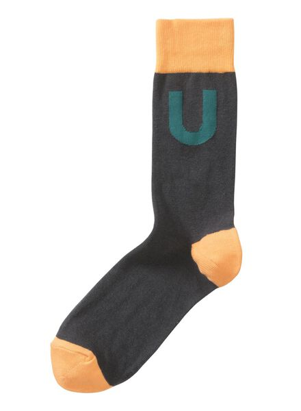 sokken maat 39-42 met letter U grijs U - 60530041 - HEMA
