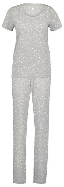 dames pyjama katoen sterren grijsmelange grijsmelange - 1000025096 - HEMA