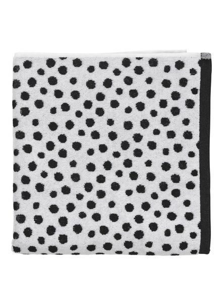 handdoek - 70 x 140 cm - zware kwaliteit - wit zwart stip - 5210069 - HEMA