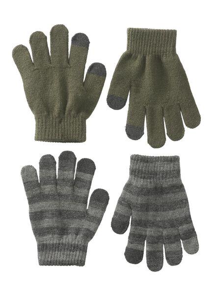 2-pak kinderhandschoenen grijsmelange grijsmelange - 1000009620 - HEMA