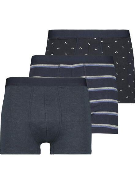 3-pak herenboxers kort donkerblauw donkerblauw - 1000015712 - HEMA