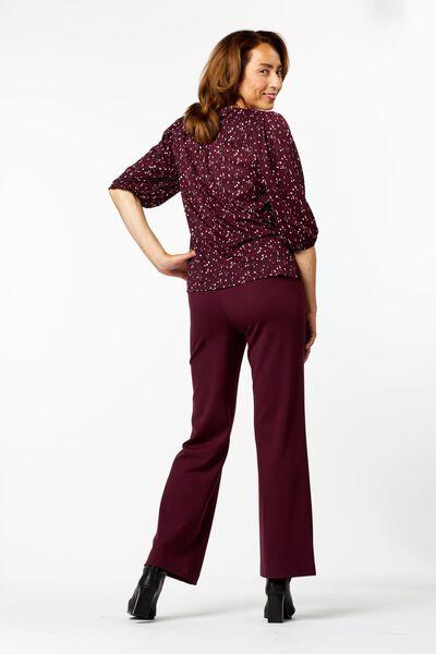 dames t-shirt met pofmouw bordeauxrood L - 36234163 - HEMA