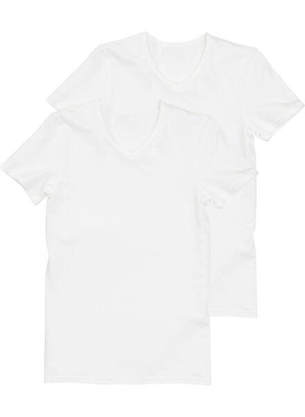 2-pak heren t-shirts naadloos wit wit - 1000001110 - HEMA