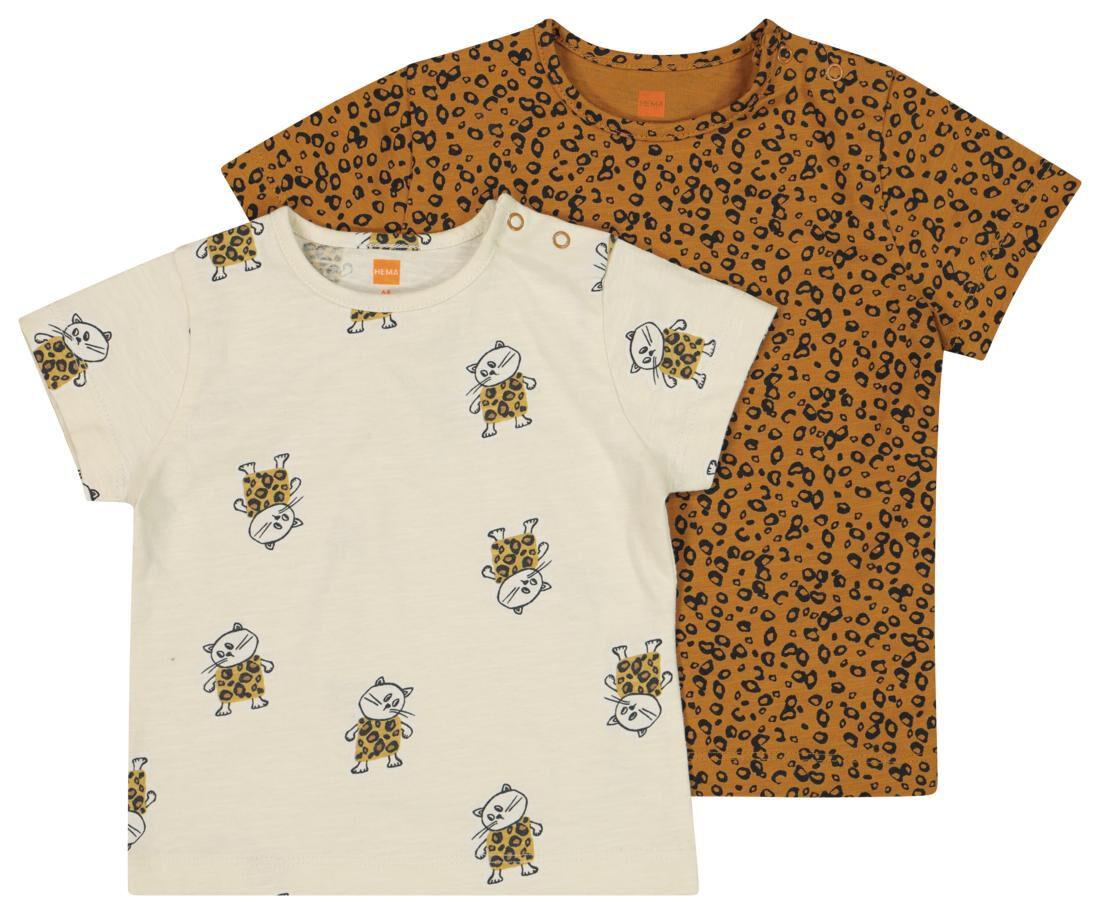 HEMA 2-pak Baby T-shirts Bruin (bruin)