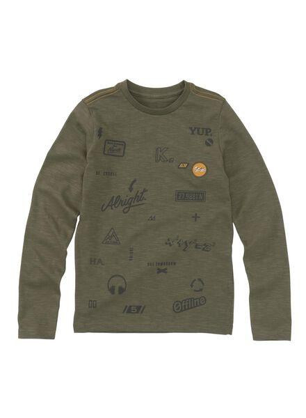 kinder t-shirt olijf olijf - 1000008578 - HEMA