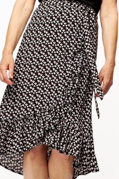 dames overslagrok bloemen zwart - 1000024338 - HEMA