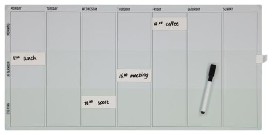whiteboard weekplanner magnetisch 30x60 - 14803690 - HEMA