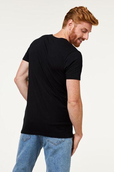 heren t-shirt slim fit v-hals extra lang zwart zwart - 1000009853 - HEMA