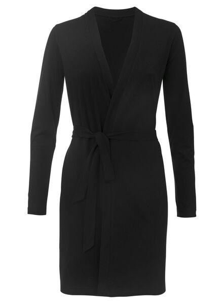 dames badjas zwart zwart - 1000008038 - HEMA