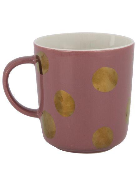 mok - 280 ml - Chicago - roze met gouden stip - 9602081 - HEMA