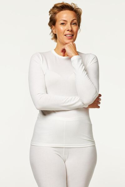 dames thermo t-shirt wit M - 19669927 - HEMA