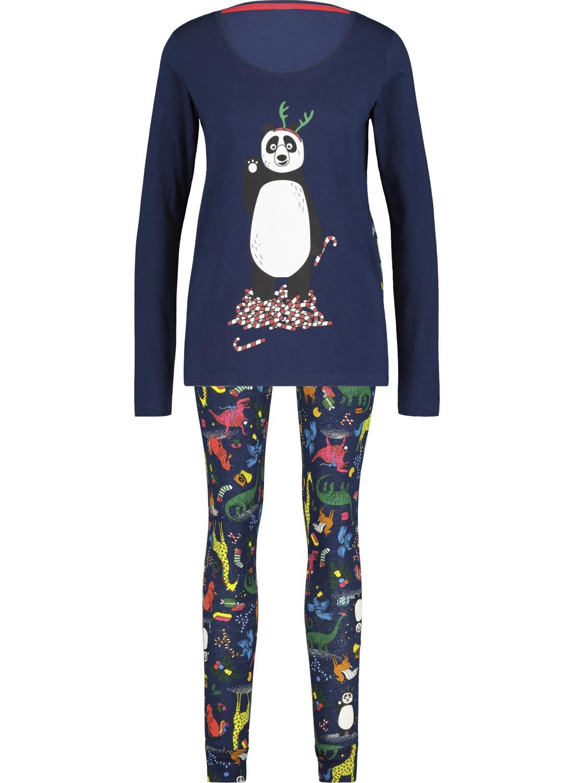 HEMA Dames Pyjama Kerst Donkerblauw (donkerblauw)