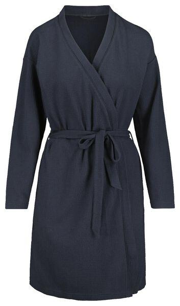 damesbadjas wafel donkerblauw donkerblauw - 1000018752 - HEMA