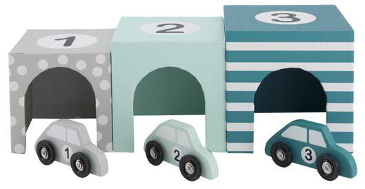 auto's met garage hout - 3 stuks - 15130111 - HEMA