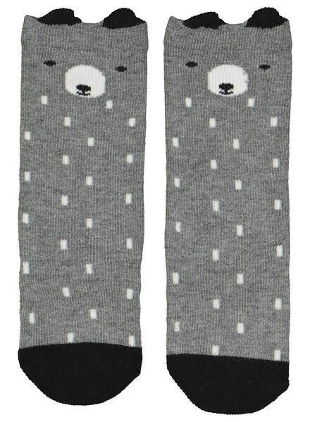 2-pak baby kniekousen grijsmelange grijsmelange - 1000014924 - HEMA