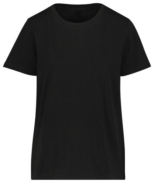 dames t-shirt katoen zwart L - 36349827 - HEMA