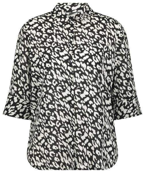 damesblouse animal zwart zwart - 1000023162 - HEMA