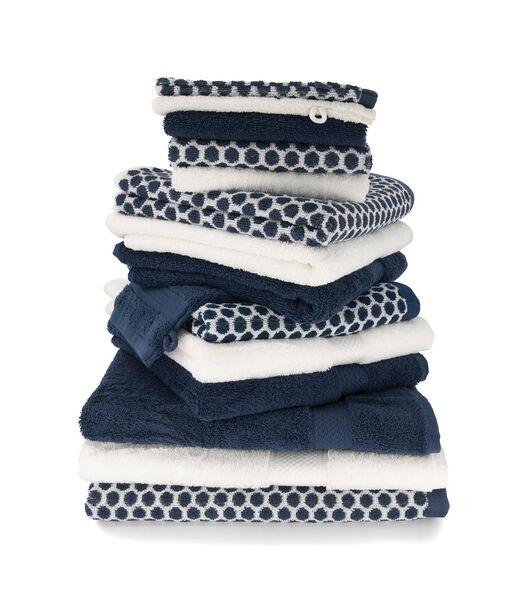 handdoek - 50 x 100 - zware kwaliteit - gestipt - jeansblauw denim handdoek 50 x 100 - 5210089 - HEMA