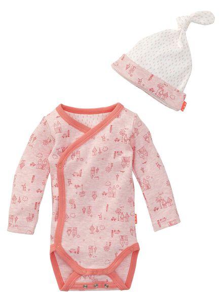 newborn meisjes romper en mutsje roze roze - 1000005420 - HEMA