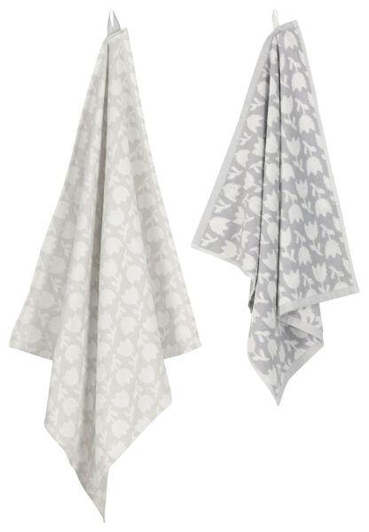 HEMA Keukendoek - 50 X 50 - Katoen - Wit/grijs Bloemen (lichtgrijs)