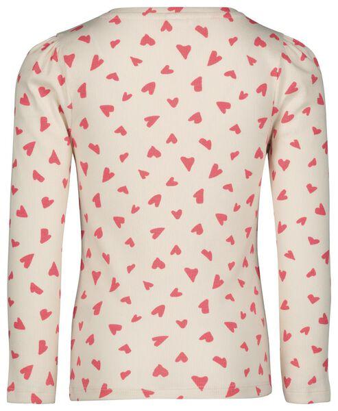 kinder t-shirt rib hartjes gebroken wit gebroken wit - 1000022221 - HEMA