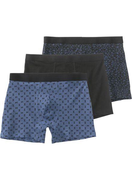 3-pak herenboxers lang donkerblauw donkerblauw - 1000009095 - HEMA