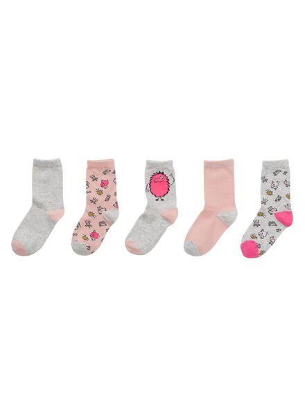 5-pak kindersokken roze roze - 1000009233 - HEMA