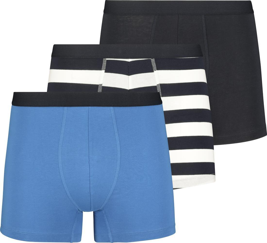 HEMA 3-pak Herenboxers Lang Katoen Stretch Donkerblauw (donkerblauw)