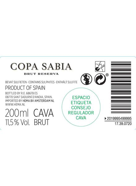 Copa Sabia cava brut 0.2L - 17390720 - HEMA