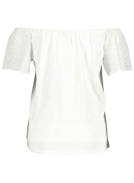 dames top met borduur - off shoulder gebroken wit gebroken wit - 1000013931 - HEMA