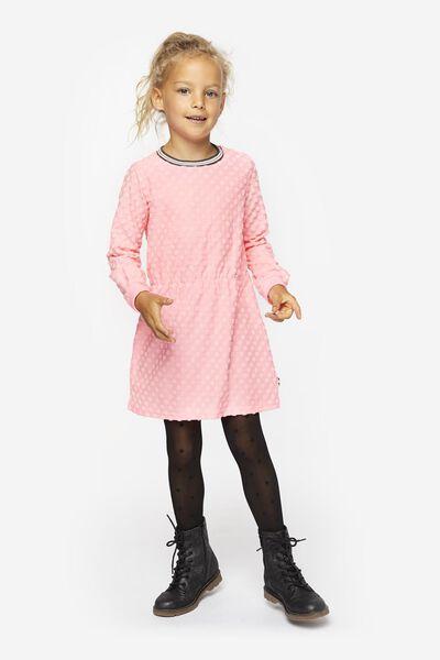 kinder sweatjurk stippen fluor roze fluor roze - 1000020640 - HEMA