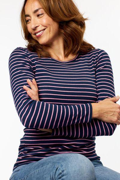 dames t-shirt rib strepen donkerblauw S - 36234146 - HEMA