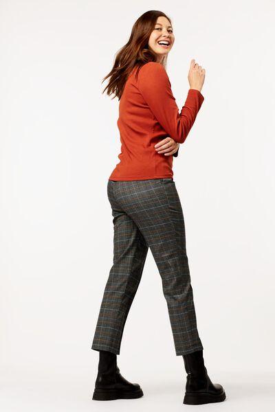 dames t-shirt rib bruin S - 36214146 - HEMA