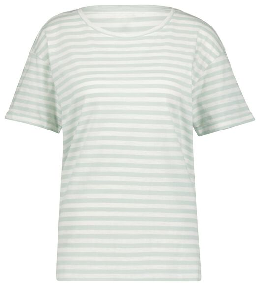 dames t-shirt strepen lichtgroen S - 36370481 - HEMA