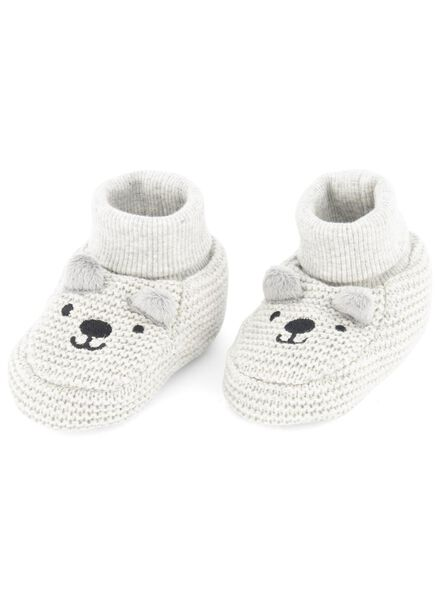 newborn sloffen grijsmelange grijsmelange - 1000015096 - HEMA