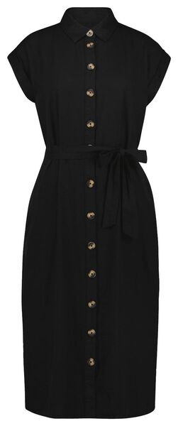 dames doorknoopjurk met linnen zwart zwart - 1000024267 - HEMA