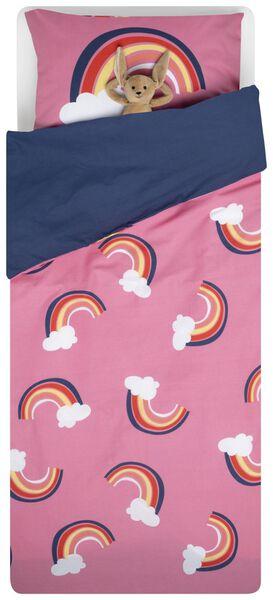 kinderdekbedovertrek - zacht katoen - 140 x 200 - roze regenbogen - 5740076 - HEMA
