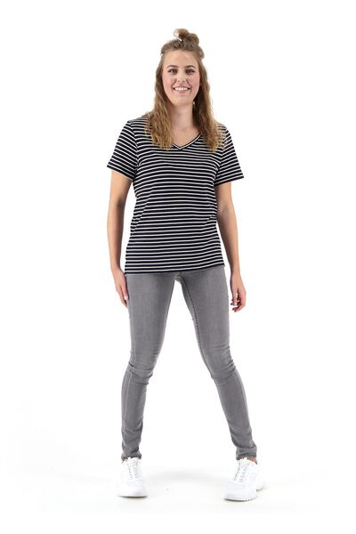 dames t-shirt met bamboe zwart/wit - 1000020051 - HEMA